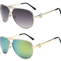 MK Cat Eye Aviator Sunglasses Women Vintage Fashion Metal Frame Mirror Sun Glasses Unique Flat Ladies Sunglasses&Christmas Gift Box