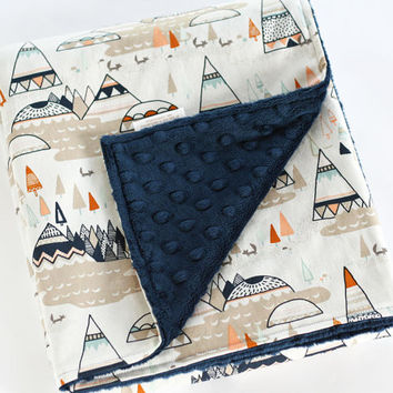 Minky Baby Blanket, Indian Summer Navy Minky Blanket, Woodland Oak Tee Pee Blanket