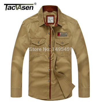 Plus Size  5XL Brand 100% Cotton Long Sleeve Denim Shirts Men Army Green Militray Casual Men shirts New Fashion Autumn Spring