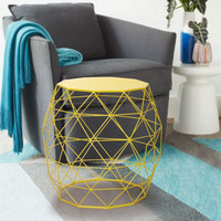 Bright Yellow Triangles Pattern Round Iron Stool / Side Tables
