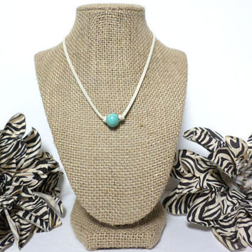 Turquoise ivory suede leather choker necklace, turquoise knotted genuine leather, turquoise bead, suede leather cord, gift
