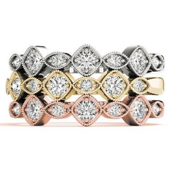 Stackables 1/2 Eternity Tri-Tone Gold Milgrain Cushion & Marquise Beaded Bezel 3-Band Set