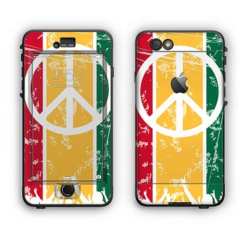 The Red, Yellow & Green Layered Peace Apple iPhone 6 LifeProof Nuud Case Skin Set