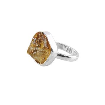 Citrine Raw Crystal Ring Sterling Silver
