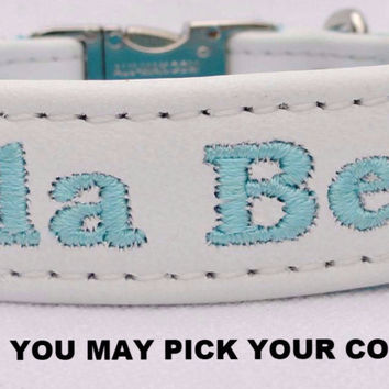 "Dog Collar: Leather w/ Nylon Webbing - 3/4"" Wide - Personalized - Non-Adjustable (Sizes 11-14) Example 2"