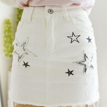 Women's Chic Embroidered Star  Frayed Cuff Denim Skirt