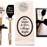 Mr Mrs Right Towel Magnetic Notepad Silicone Black White Spatulas Wedding Set 5