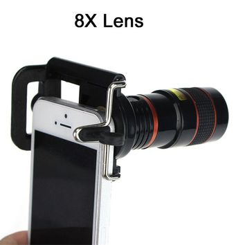 YIFUTE Free shipping 8X Zoom Optical Telescope Camera Wide Angle Lens For iPhone 7 Lens iPhone 5s 5 6 6s Plus 7 Plus Lens
