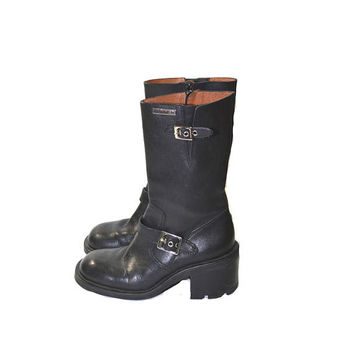 Vintage Harley Davidson Boots Black Harness Boots Black Leather Motorcycle Boots Women's Harley Davidson Boots Size 7
