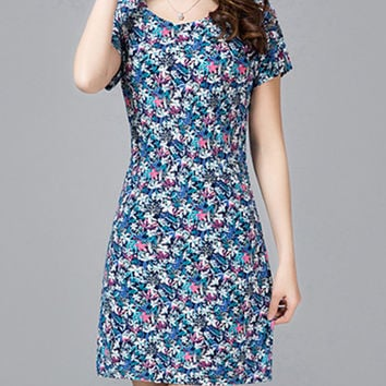 Streetstyle  Casual Allover Floral Printed Bodycon Dress
