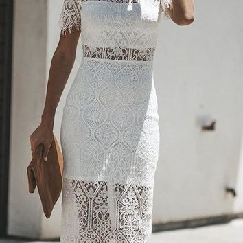 White Cut Out Detail Sheer Panel Chic Women Lace Bodycon Dress