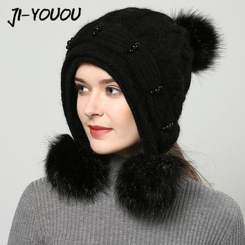 JIYOUOU winter hats for women Bomber Hats hand made 2017 New women's hat red knitted pompom solid colors gorros cap
