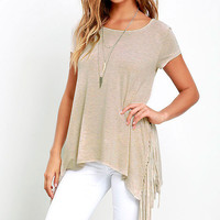 Casual Side Tassel T-Shirt B005785