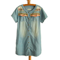 Tribe Embroidery Distressed  Long Denim Tops