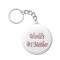 World's #1 Mother 3D Key Chains, Pink Keychain