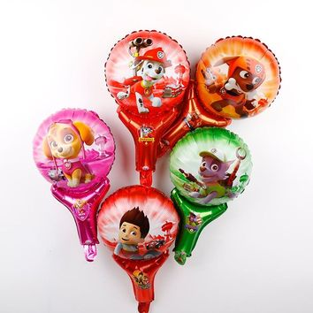 30pcs Paw Patrol figures dog party foil balloons kids birthday party decorations hand stick balloon Chase Marshall globos toys