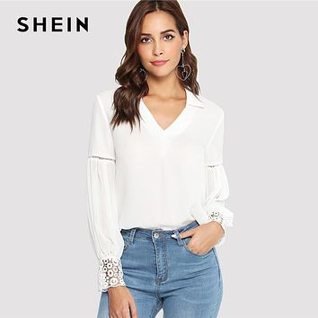 SHEIN Laser Cut Insert Guipure Lace Cuff Blouse White V Neck Long Sleeve Cut Out Tops Women Elegant Workwear Shirt