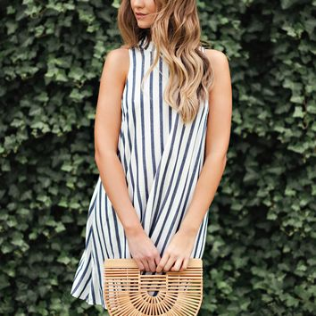 Wanted Love Striped Shift Dress (White/Navy)