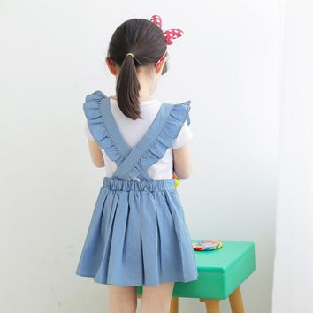 New Summer Jean Back Cross Dresses For Girls Princess, Children Baby Teenage Solid Cowboy Clothing