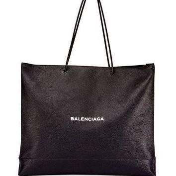 balenciaga mens large east west tote bag black white 2
