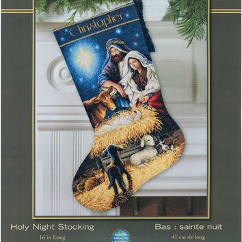 """Holy Night Stocking (18 Count) Dimensions Gold Collection Counted Cross Stitch Kit 16"""" Long"""