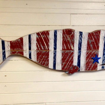 Patriotic Whale Sign Wall Art Vintage Wood American Beach House Home Decor by CastawaysHall - Ready to Ship