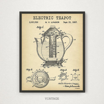Electric Tea Pot Patent Print, 4 COLORS Printable, Tea Poster Kitchen Wall Art Tea Lover Gallery Wall Vintage Teapot Kitchen Decor Tea Print