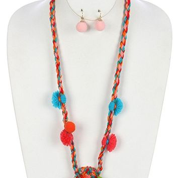 Coral Red Braided Yarn Pom Pom Pendant Necklace and Earring Set