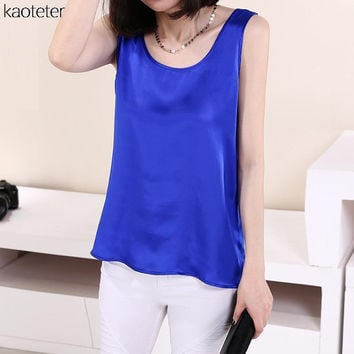 100% Pure Silk Women Blouses 2016 Summer Brand New Casual Blouse Loose OL Sleeveless Blusa Feminina Tops Shirts XXXL Cany Color
