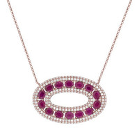 1.21ct Diamond & 2.96ct Ruby 14k Rose Gold Lady's Necklace