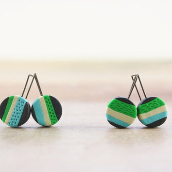 Colorful striped earrings, fun modern polymer clay jewelry in bright colors