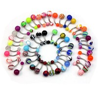 50 Pcs MIX Assorted Ball Belly Navel Barbell Bars Rings Body Piercing Jewelry