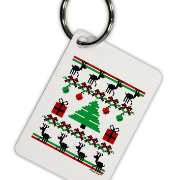 Tree with Gifts Ugly Christmas Sweater Aluminum Keyring Tag