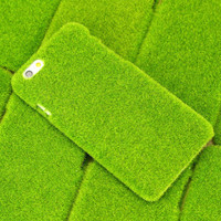 Newest Plush Fresh Japan Simulation Green Grass Lawn Anti-knock Shockproof Phone Case Capa for Iphone 6 6 Plus, Drop Shipping