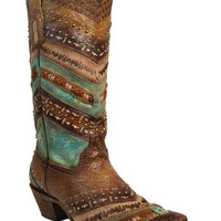 Corral Brown & Turquoise Embroidery and Studs Cowgirl Boots - Narrow Square Toe