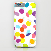 Joyful flying сonfetti on a white background seamless abstract pattern. Design for a party. iPhone & iPod Case by Natalia Bykova