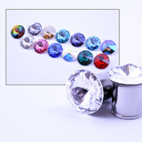 1/2 7/16 00g 0g 1 Pair Plugs Made With Swarovski Elements 316L Single Flare Tunnels Crystal Gauges Wedding Bridal Plugs Gauges Tunnels