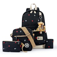 School Backpack trendy Kajie Canvas Backpack 4 Pcs/set Women s Schoolbag For Teenagers Student Girls Book Bag High Quality Boys Satchel AT_54_4