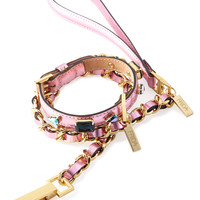 Medium Pink Jeweled Leather Collar with Chain Lead - Frida