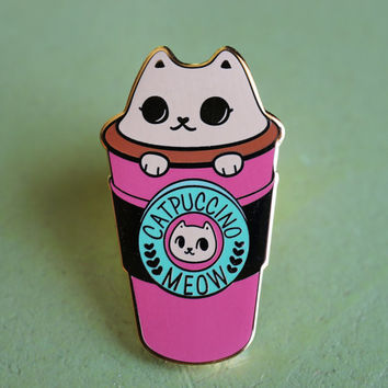 "Catpuccino ""to go"" Hard Enamel Lapel Pin"