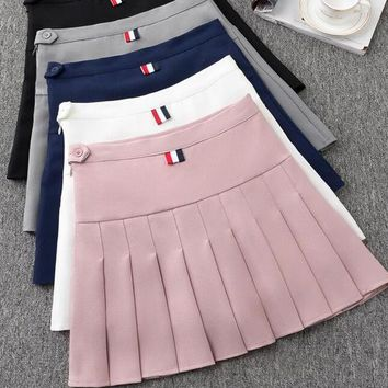 2018 high waist pleated skirts Kawaii Harajuku Skirts women girls  A-line sailor skirt Large Size School uniform Skirt
