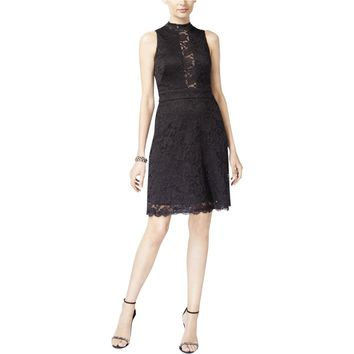 Betsy & Adam Womens Eyelash Lace Overlay Cocktail Dress