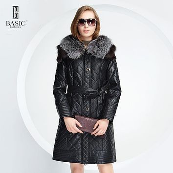 BASIC-EDITIONS New Winter Women Faux Leather Clothing Fox Fur Collar Slim Female Jacket Quilting grid Cotton Coat - D13058