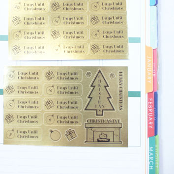 Gold Foil Christmas Planner Stickers Vertical Layout (S032) Stickers