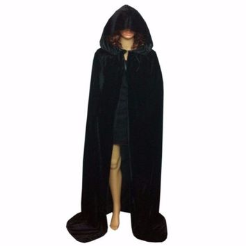 Velvet Hooded Witchcraft Cape Halloween Costume