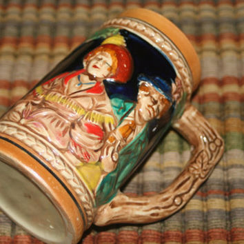 Vintage Stein with Couple ,Barware,Man Cave