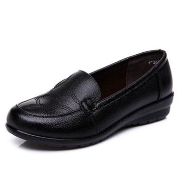 Black Leather Work Anti Skid Soft Flat Shoes For Women