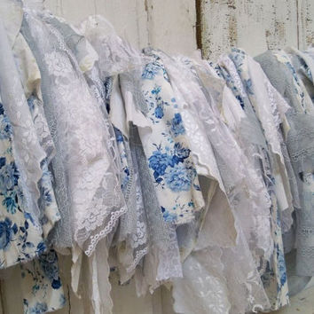 French blue fabric garland tattered wedding shabby cottage home decor torn lace decoration Anita Spero