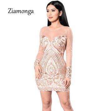 Ziamonga See Through Women Sequin Dresses Gold Black Bandage Dress Bodycon Sexy Mini Night Club Party Dresses Female Vestidos