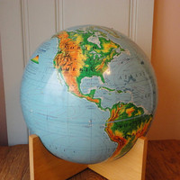 "Vintage World Globe Nystrom Company 1967 Unusual Wooden Cross Base Large 16"" Size by metrocottage"